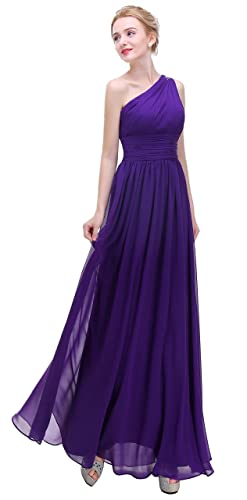 Esvor One Shoulder With Beaded Prom Party Evening Gown Long Bridesmaids Dress