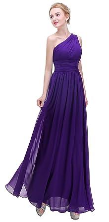 3998fd09c9c75 Esvor One Shoulder Prom Party Evening Gown Long Bridesmaids Dress Dark  Purple 6
