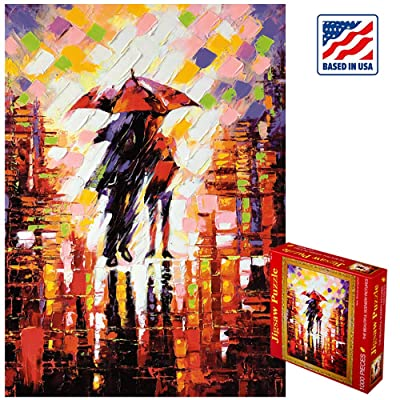 """1000 Piece Large Jigsaw Puzzle for Adults & Kids- Painting Puzzle, Pieces Fit Together Perfectly, Decompression Toys, Personalized Gift Educational Games - The Rain Night (27.6"""" x 19.7""""): Toys & Games"""