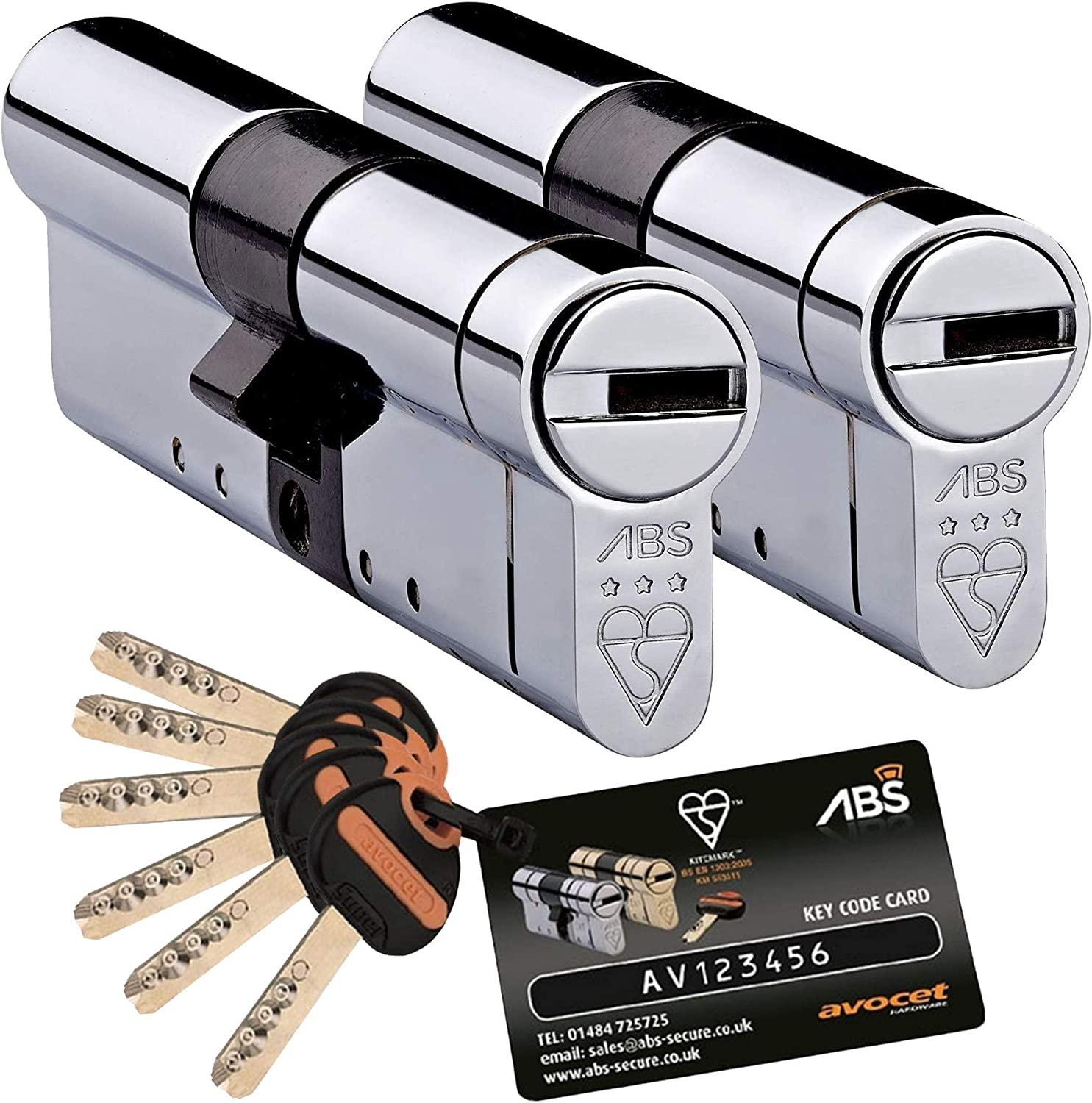 TS007 3 Star 35mm Int 50mm Ext Chrome Anti Snap Locks Avocet ABS High Security Euro Cylinder Keyed Alike Pairs