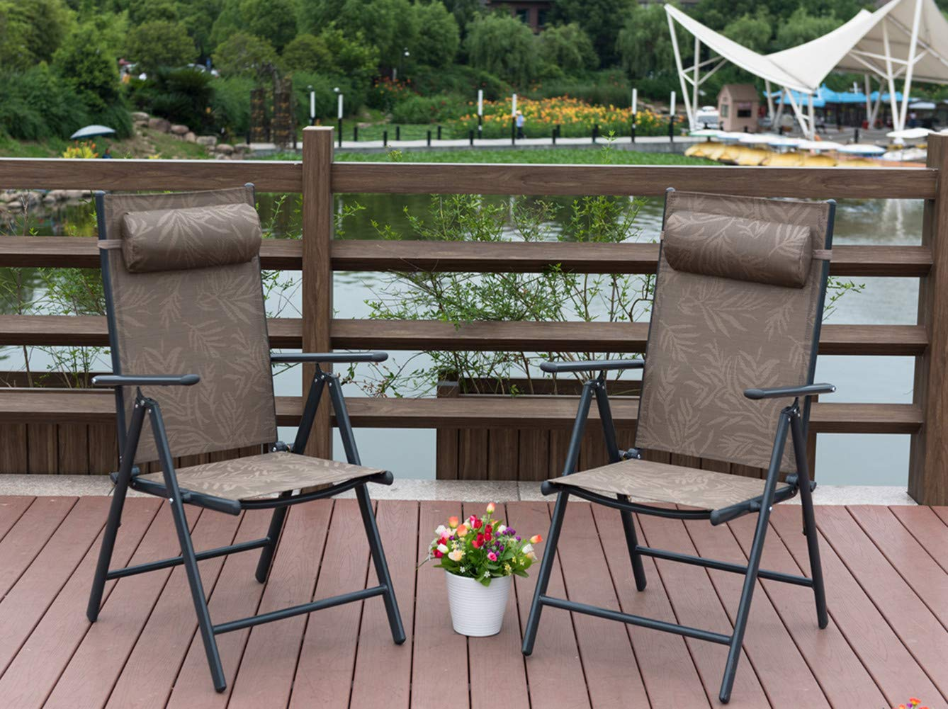PatioPost Outdoor Adjustable Folding Recliner Aluminum Patio Sling Chairs with 7 Stalls, Set of 2 - Jacquard by PatioPost (Image #6)