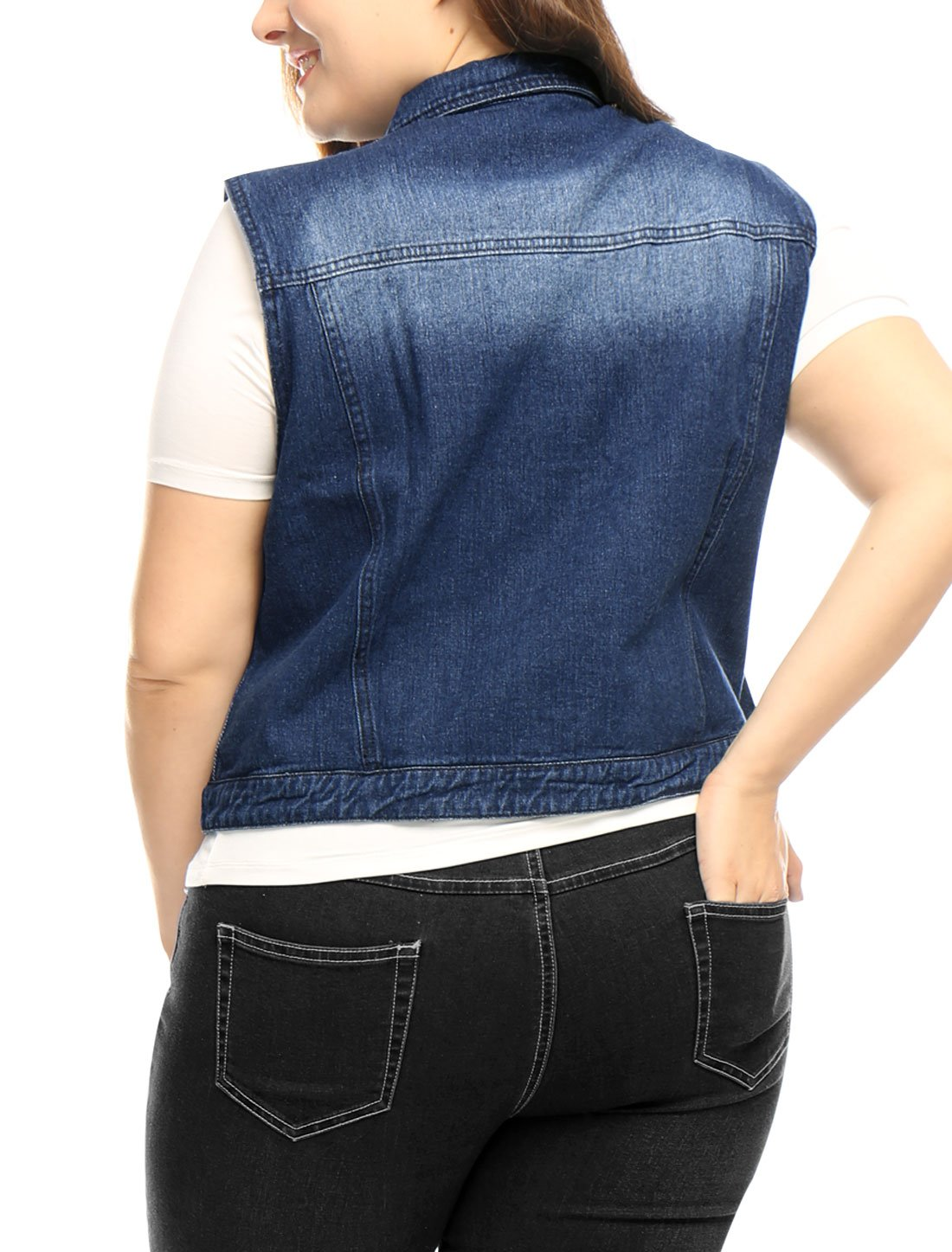 uxcell Women Plus Size Slim Fit Denim Vest Blue 1X by uxcell (Image #5)