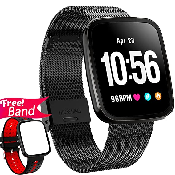 [Gorilla Glass] 1.3 Smart Watch Fitness Tracker Heart Rate Monitor Blood Pressure for Women Men IP67 Waterproof Removable Smart Band Pedometer ...