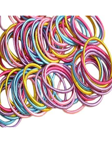 Nikgic 100 Corbatas Elásticas para el Pelo duraderas, Pequeñas y Finas, Elásticas, para