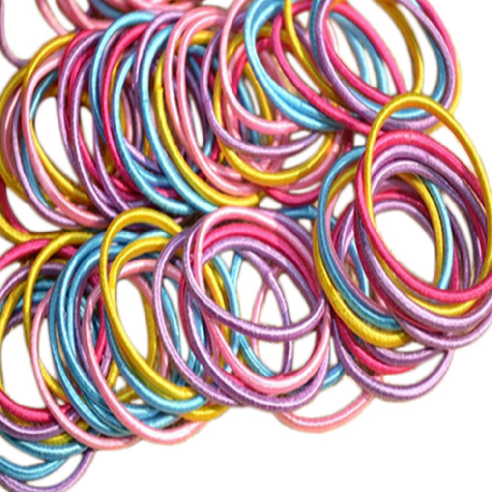 Spaufu 100x Hair Bands Candy Color Children's Rubber Band No Metal High Elasticity Hair Ties Hair Accessory