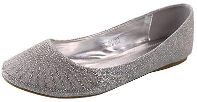 672c06798c9259 DbDk Women s Crystal Rhinestone Jewel Metallic Glitter Round Toe Ballet Flat  (8 B(M