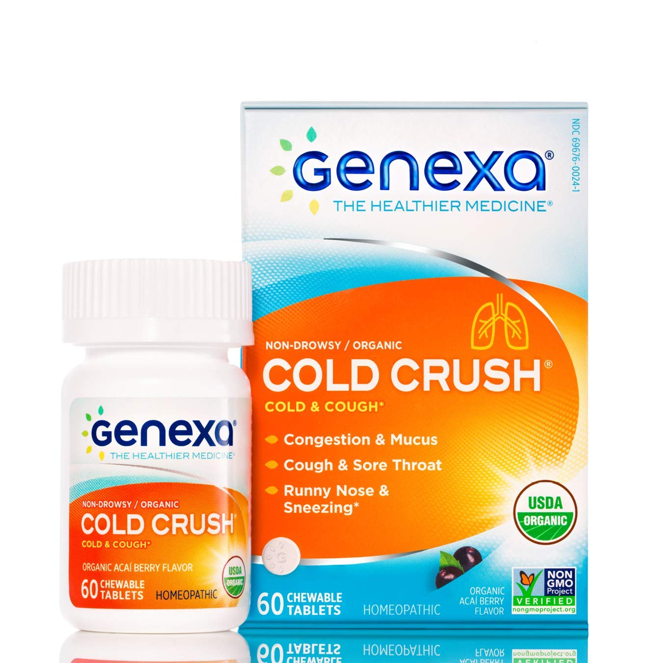 Genexa Cold Crush - 180 Tablets (3 Pack) | Certified Organic & Non-GMO, Physician Formulated, homeopathic | Cough & Cold Medicine by Genexa