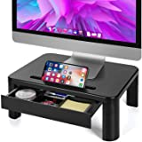 LORYERGO Monitor Stand for Desk with 3 Adjustable Height for PC Monitor, Laptop, Printer, Monitor Desk with Storage Organizer