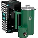 Coffee Gator フレンチプレス コーヒーメーカー 1000ml(グリーン)ステンレス製で頑丈・保温性抜群 約4杯分 携帯用ミニ容器付