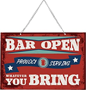 Bar Open Metal Tin Sign Daily Reproduction Vintage Bar Man Cave Funny Wall Decor Bar Open Metal Hanging Sign for Bar Pub Home Wall Door Decoration, 12 x 8 Inch