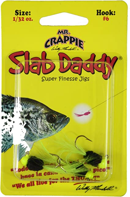 WHITE  NEW 2//PACK Mr.Crappie Slab Daddy Super Finesse Jig 1//16 /& 1//32 oz