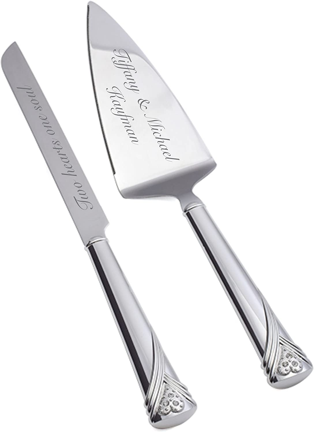Amazon Com Engraved Amour Sans Fin Wedding Cake Server Set Personalized Free Ships From Usa Office Products