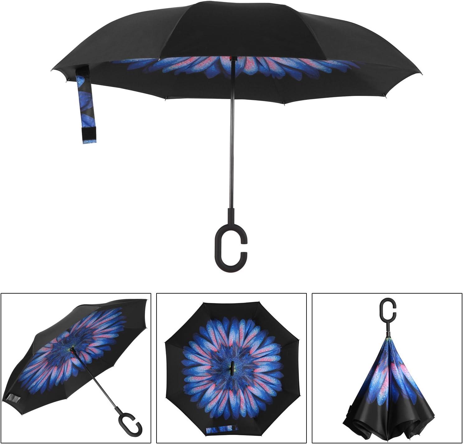 Cartoon Naruto Car Reverse Umbrella Windproof And Rainproof Double Folding Inverted Umbrella With C-Shaped Handle UV Protection Inverted Folding Umbrellas