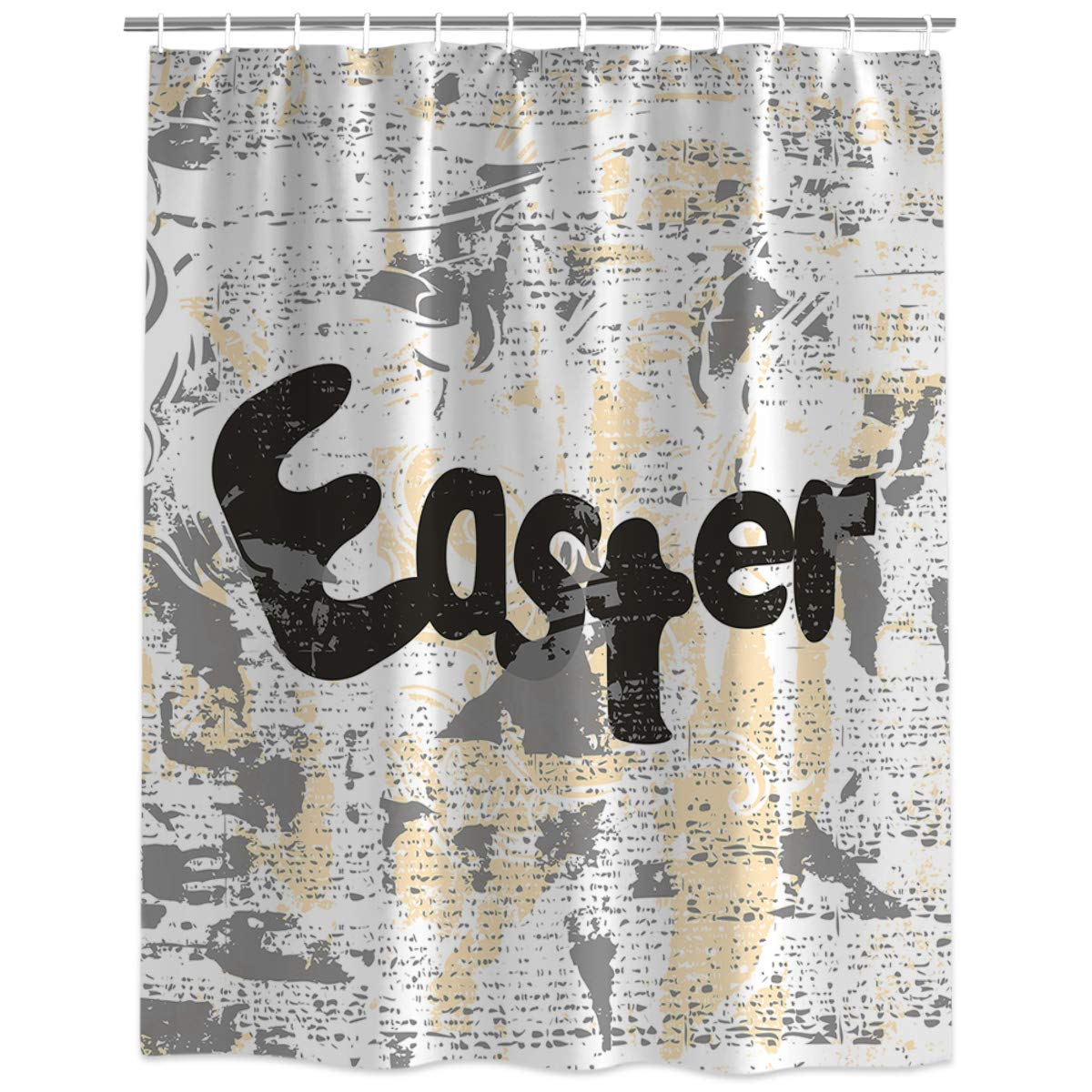 InvisibleWings Wordart Easter Blurry Poster Newspaper Shower Curtain Decoration Mildew Waterproof Polyester Fabric Machine Washable Bathroom Bath