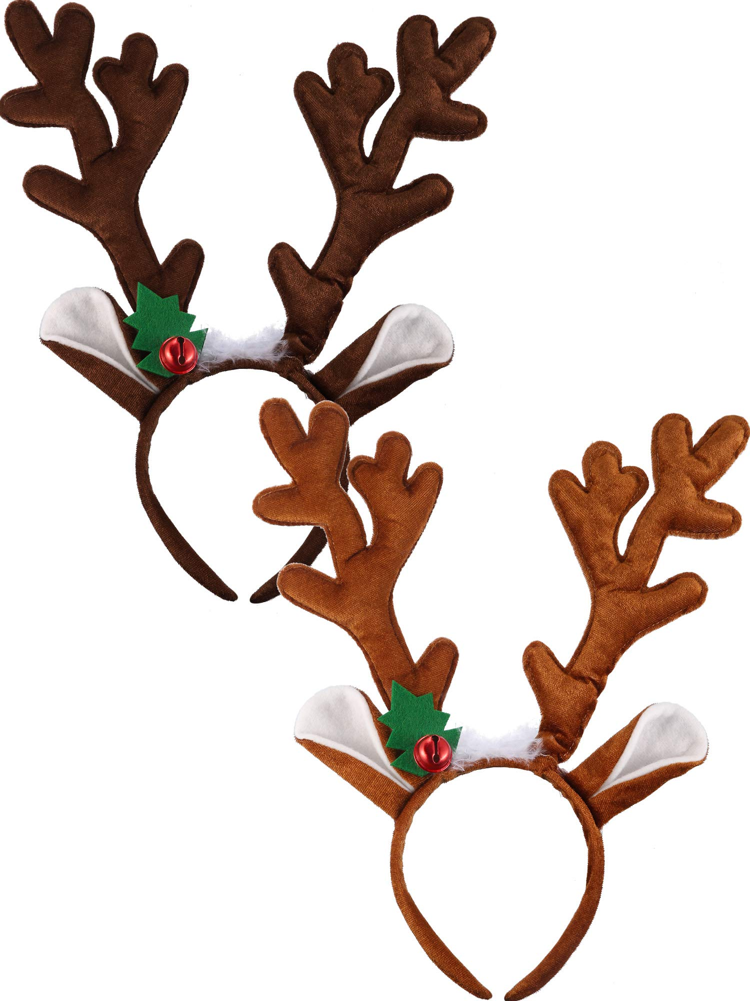 Bememo 2 Pieces Antler Headband Reindeer Headband Christmas Easter Headwear with Ears (Style A) Dark Brown, Light Brown by Bememo