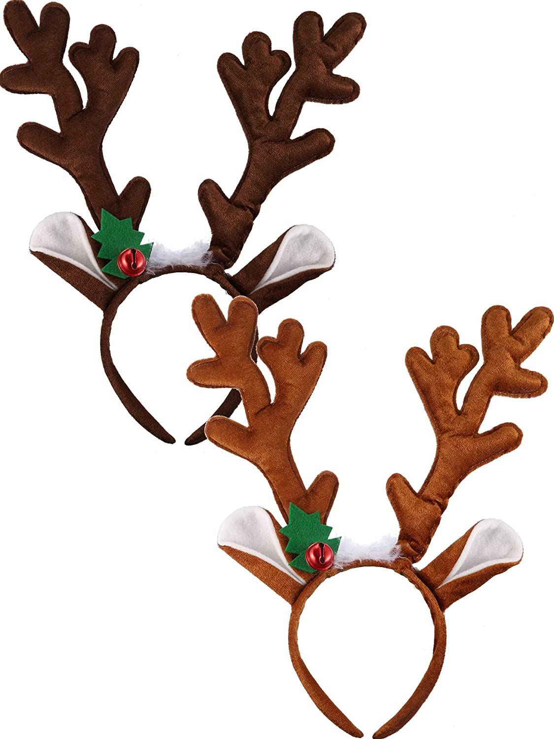 Bememo 2 Pieces Antlers Headband Reindeer Headband Christmas Easter Headwear with Ears and Bell Hair Accessory