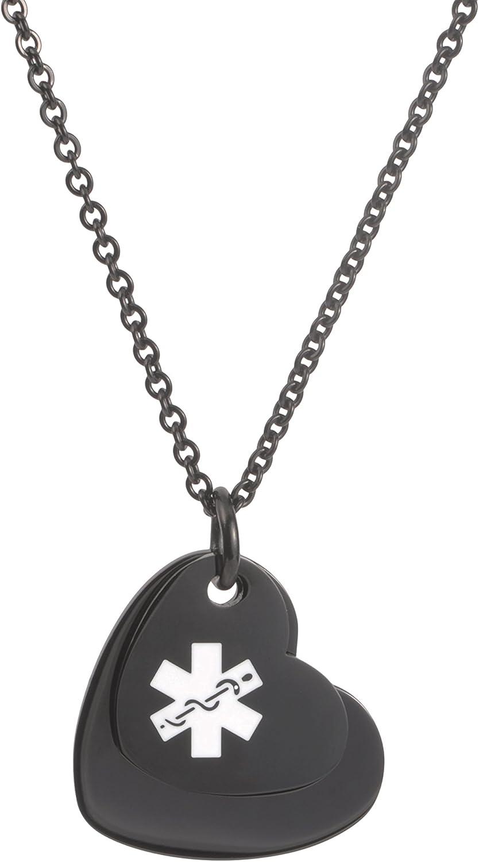 Rose Gold /& Silver Hearts Chain i2C-B12 Black Custom Engraved FREE Medical Alert Bracelet