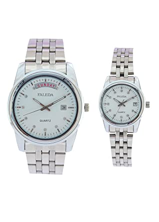 Faleda White 6154PCHWDAY-DATE Silver Analog Formal for Couple