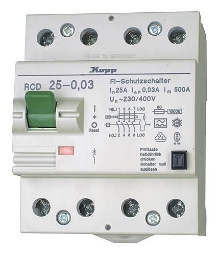 Kopp 752548016 Green Electric Fehlerstromschutzschalter RCD, 25A ...