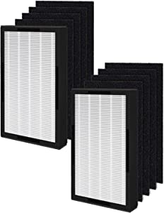 Fil-fresh FLT4100 True HEPA Replacement Filter E, 2 HEPA Filters and 8 Carbon Pre-filters Compatible with Germ Guardian AC4100, AC4100CA, AC4150BL Home Air Purifier, 2 Pack