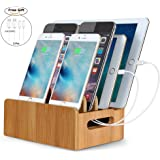 Firstbuy Real Bamboo Charging Station Electronics Charging Dock Organizer for iPhone iPad Pro Smartphones, Cords Cable Organizer System Smart Devices Gadgets, Eco Friendly Charge Stand Dock Holder