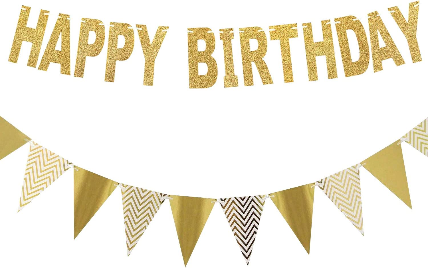 Redear Happy Birthday Banner, Gold Glitter Pennant Banner Sparkly Triangle Flags Bunting for Birthday Decorations