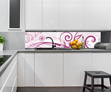 wandmotiv24 Cocina Pared Trasera Annabelle Flores Florales Design M0063 240 x 50 cm (W x H) ...