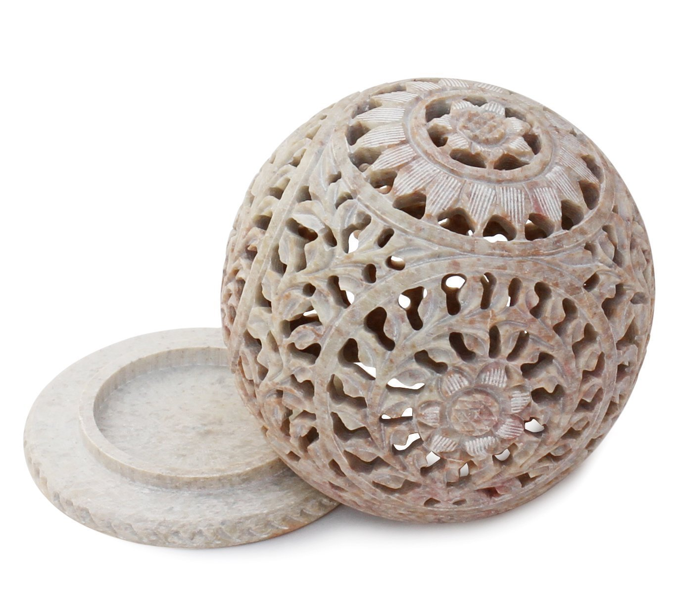 Artistic India Soapstone Tealight Candle Holder Sphere,4'',Shaped with Intricate Tendril Openwork-Table Decorative Candle Holders for Home, Living Room & Office.