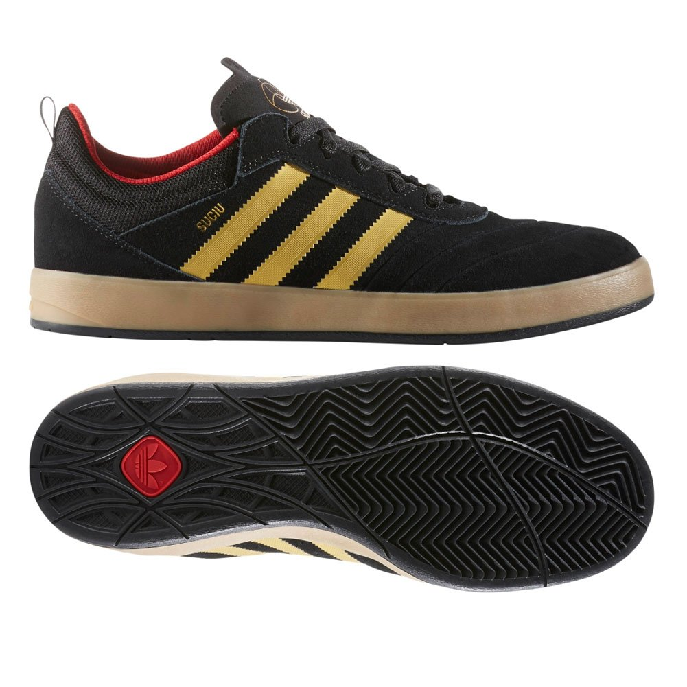 Adidas Suciu ADV Core Black / Gold Foil / Gum Skate Shoes-Men 9.5, Women 11.0