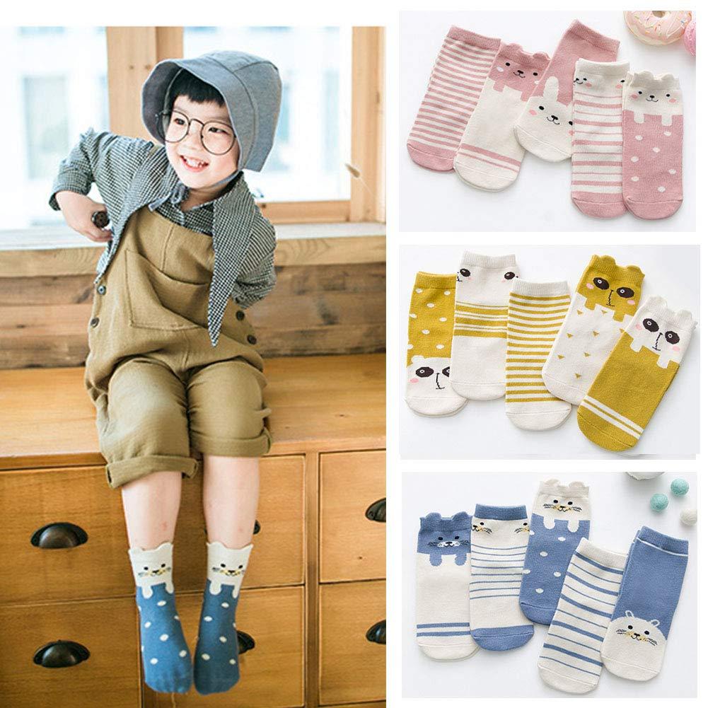 Leoie 5 Pairs//Set Children Autumn Winter Soft Cotton 3D Stripe Socks Baby Socks