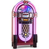 auna Graceland XXL BT Jukebox Bluetooth style années 50 (port USB, lecteur de carte SD, AUX, radio FM/AM, lecteur CD, éclairage LED)
