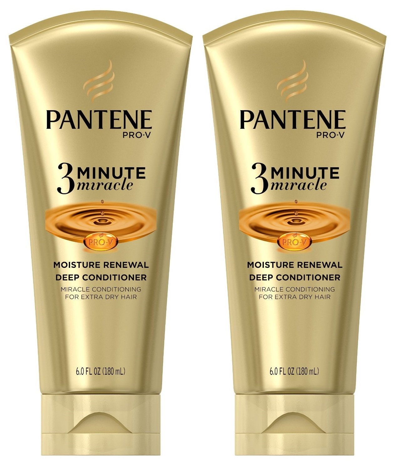 Pantene Pro-V 3 Minute Miracle Moisture Renewal Deep Conditioner, 6 Ounce (2-Pack)