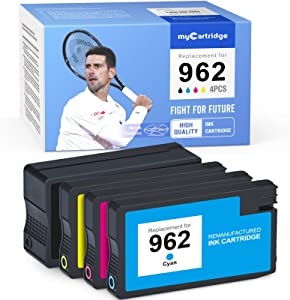 MYCARTRIDGE Remanufactured Ink Cartridge Replacement for HP 962 962XL for Officejet 9025 9020 9015 9012 9010 (1 Black, 1 Cyan, 1 Magenta, 1 Yellow, 4 Pack)