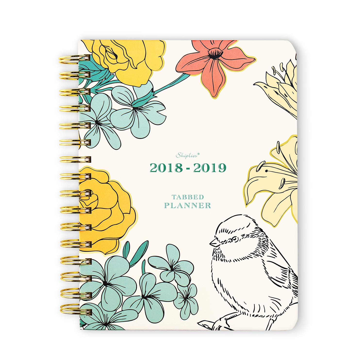 Hard Cover 2018-2019 Academic Year Monthly Weekly Tabbed Planner, Agenda, Personal Organizer, Twin-Wire Binding 6.8'' x 8.8'' by Shiplies