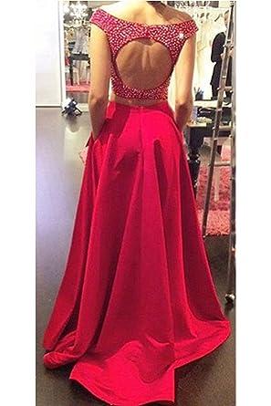 StayPretty Halter Burgundy Chiffon Evening Gown A Line Prom Dress for Women Long