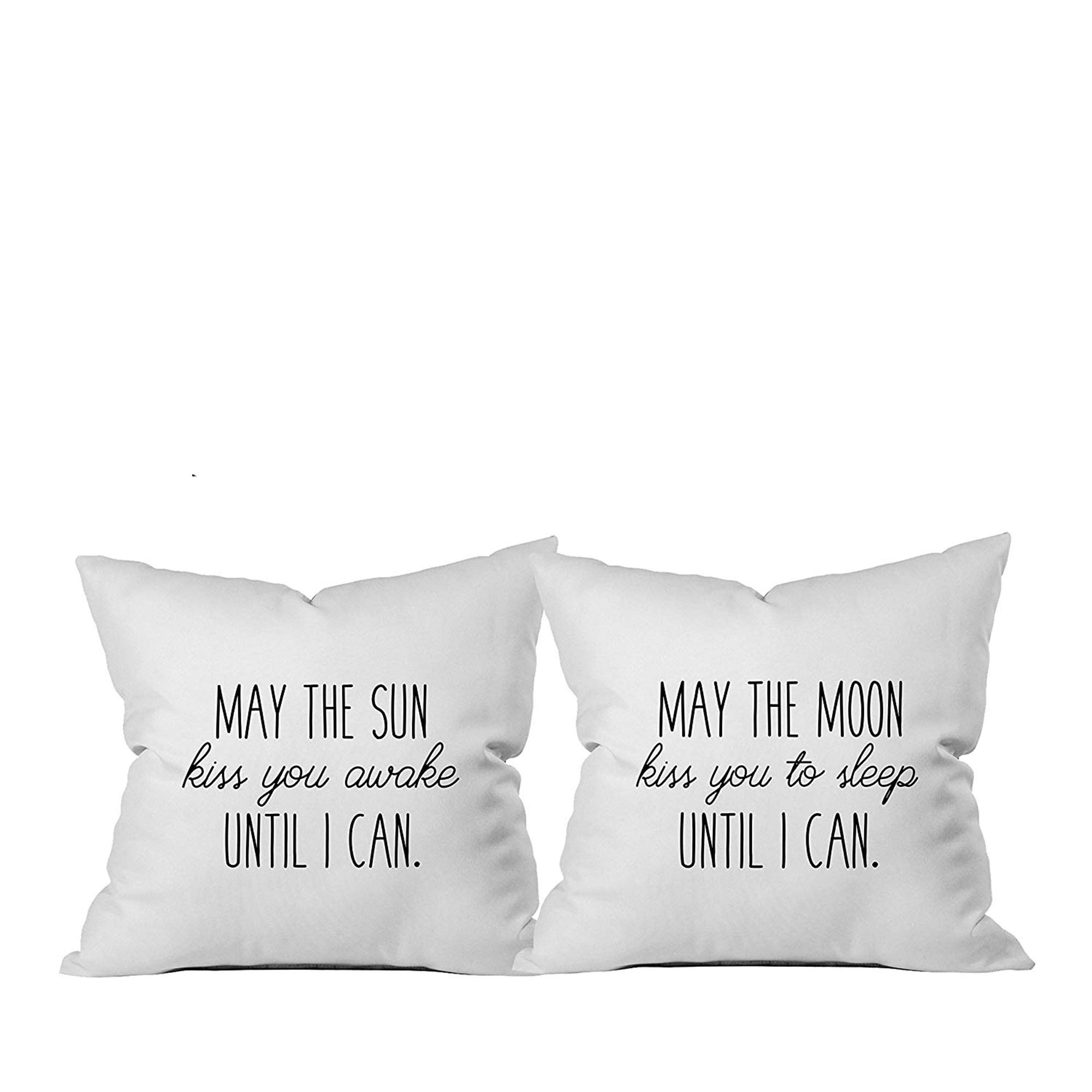 Oh, Susannah May The Sun Kiss You Awake Until I Can, May The Moon Kiss You to Sleep Until I Can Reversible Throw Pillow - Cover Fits 18x18 Insert Long Distance Relationships Gifts for Her I Love You G