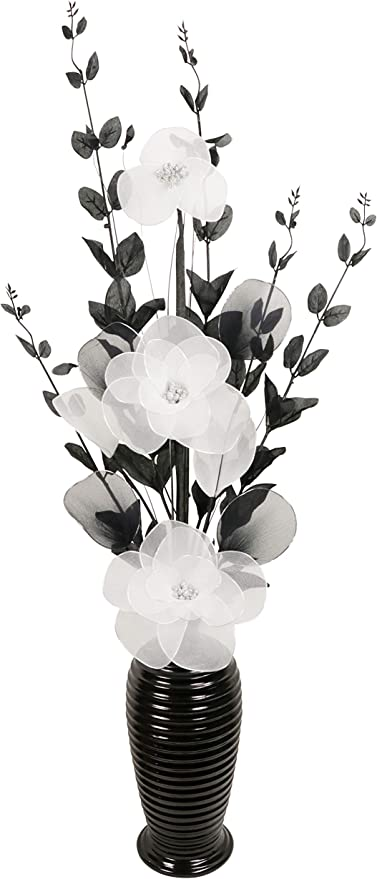 80cm Light Grey Vase With Black And White Artificial Flowers Ornaments For Living Room Window Sill Home Accessories Home Accessories Artificial Flora
