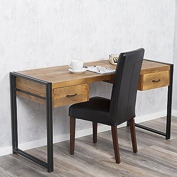 Schreibtisch DURAR Mango-Rough Massiv Industrial-Design 150cm ...