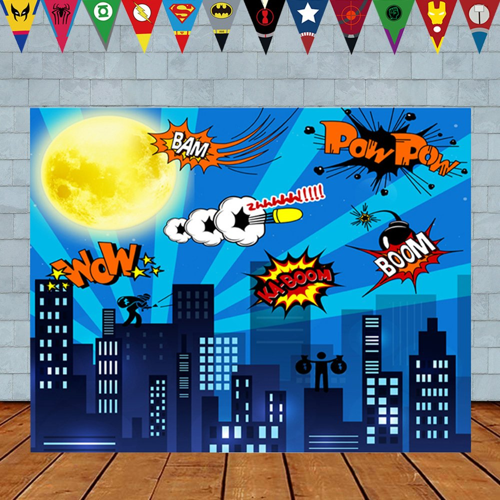 asdfg 5 x 3ft Superhero Cityscape Photography Backdrop and Superhero Party Banner for Kids Birthday Party Decoration, Studio Superhero Photography Background (5 x 3Foot)