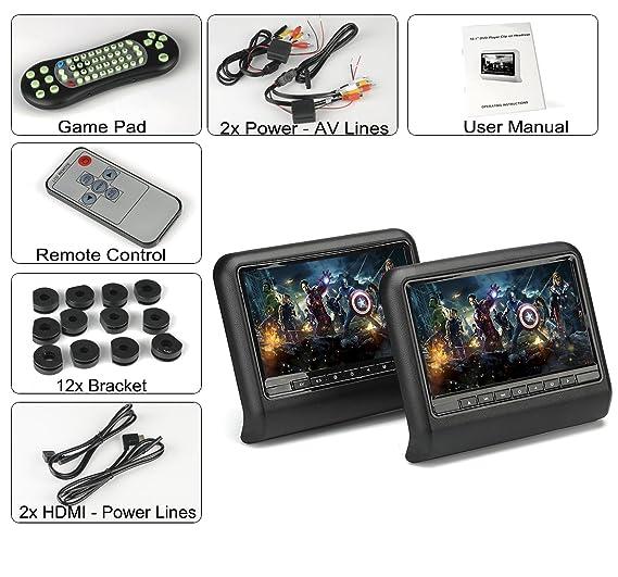 BW 10.1 Inch coche reposacabezas reproductor de DVD monitores + ...