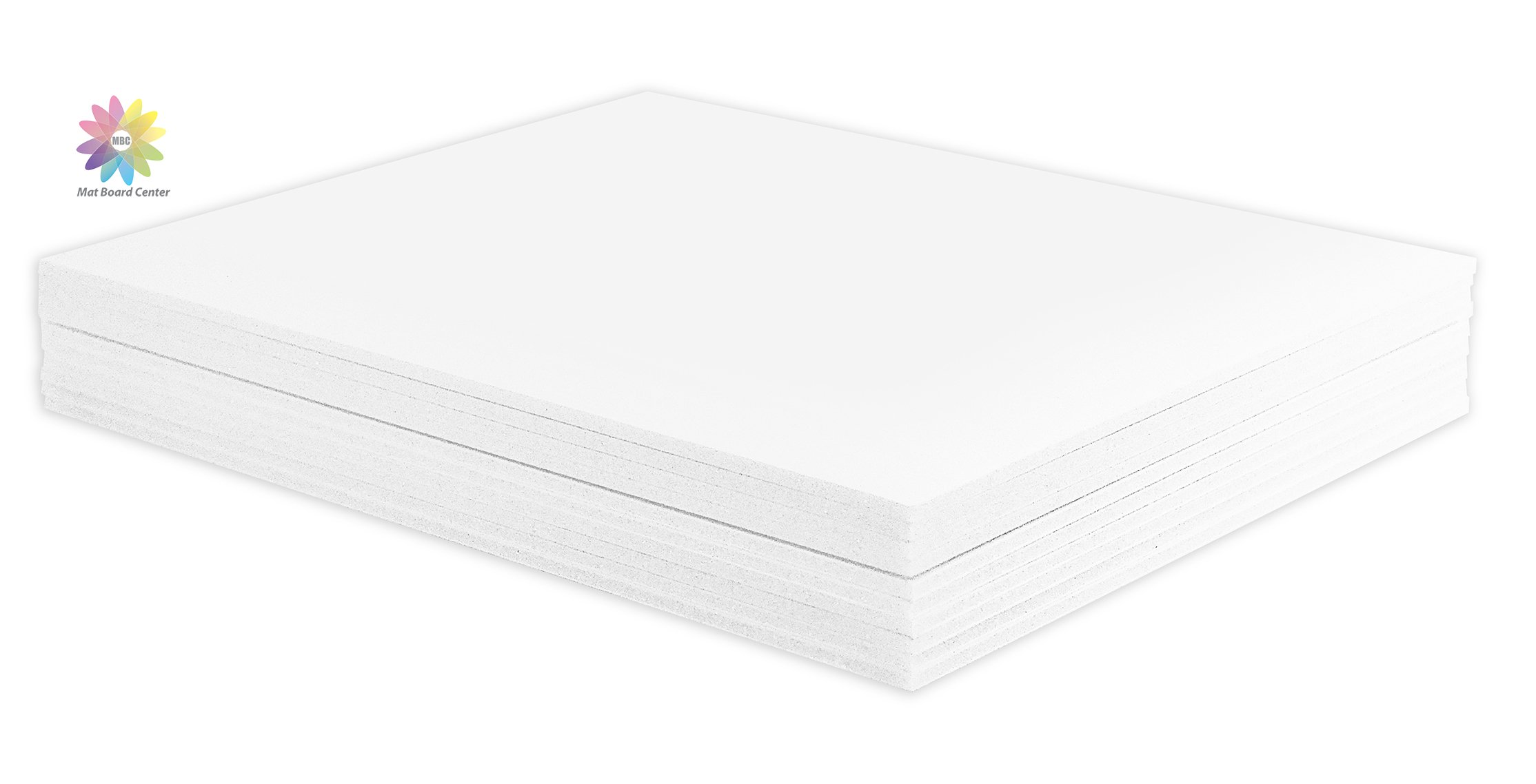 Mat Board Center, Pack of 10 1/8'' White Foam Core Backing Boards (11x14, White)
