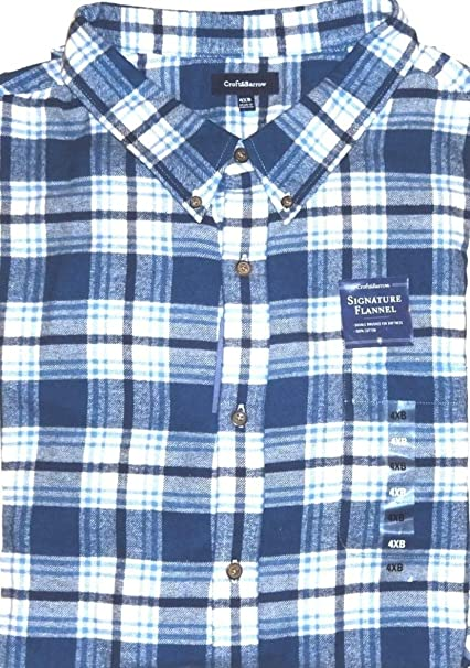 Croft Barrow Mens Classic Fit Flannel Shirt Blue White Plaid