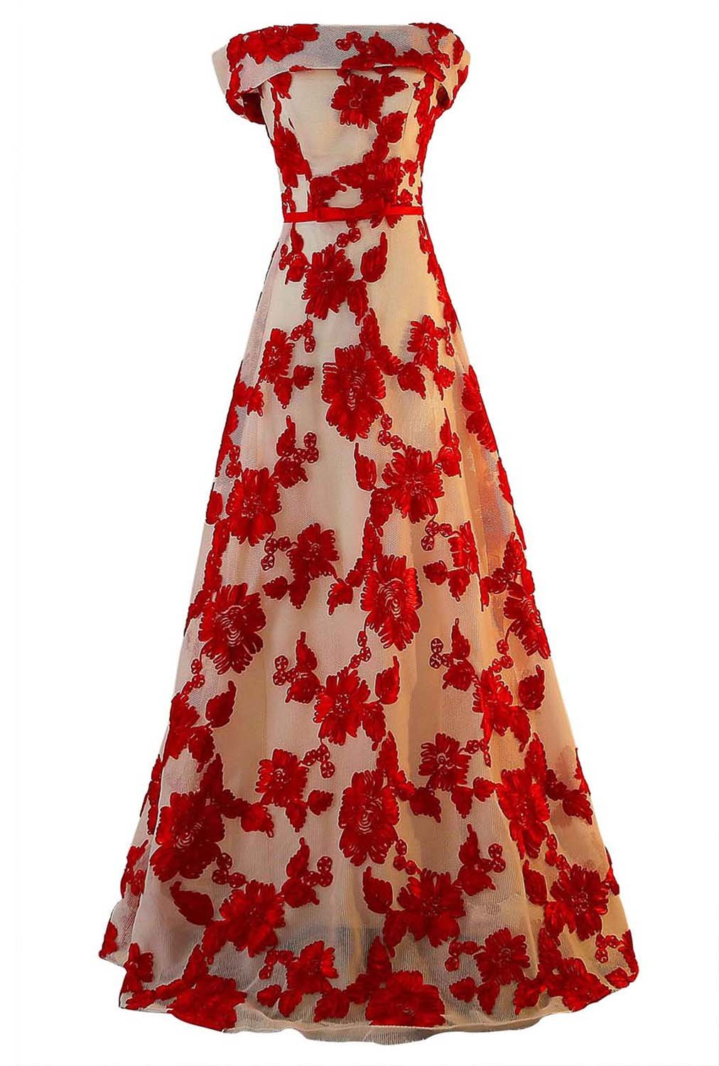 FANHAO Women's Off-The-Shoulder Appliques Lace Waist Sashes Long Evening Prom Dress,Red,M