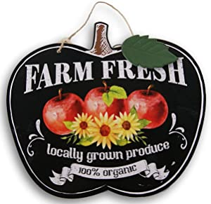 Fantastic Fall Decorative Apple Shaped ''Farm Fresh'' Hanging Sign - 11.5 x 10.5 Inches