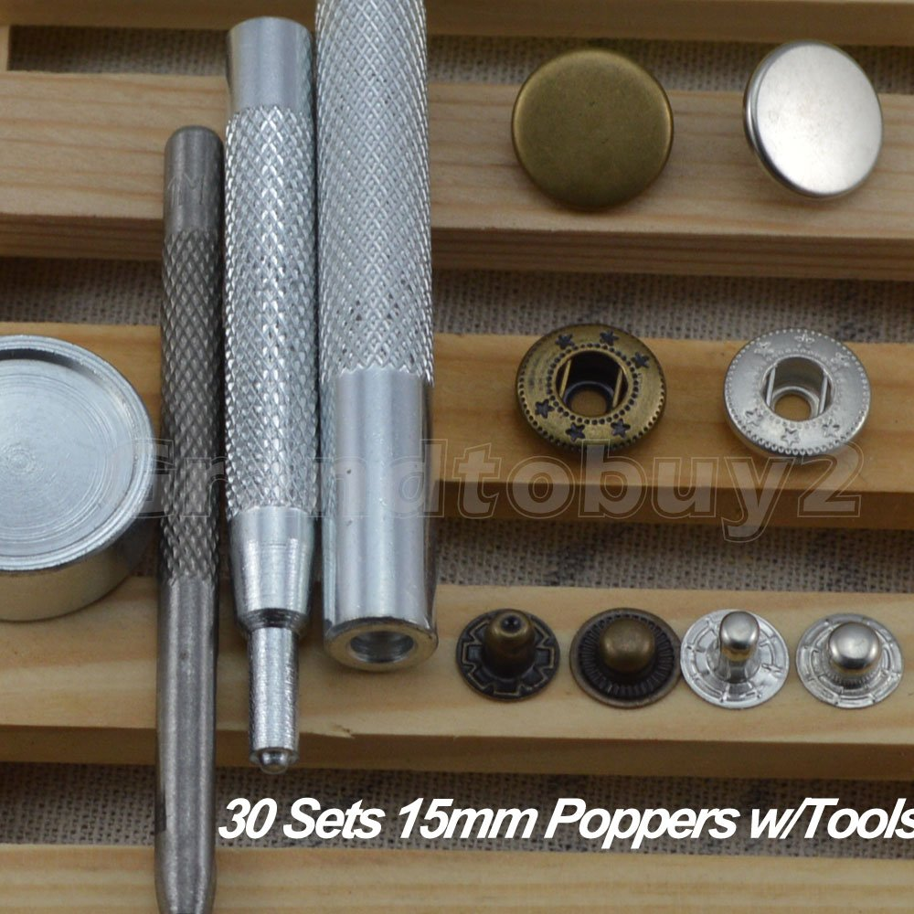 30 Completed Sets 15mm Silver & Antique Brass Snap Fasteners Poppers Sewing Clothing Jacket Jean Bag Shoes Buttons Studs Kit with Fixing Tool For Clothing and Accessories - Press Studs for Adding Secure Closure to Jackets, Jeans, Bags, Straps and Othe