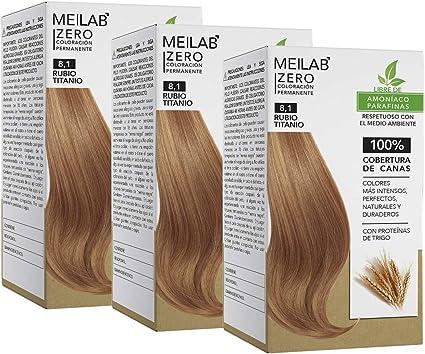 MEILAB - Tinte permanente sin amoniaco - Pack de 3 unidades - Color Rubio claro ceniza #8-1