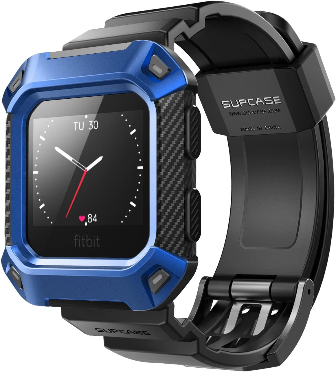 SUPCASE Fitbit Blaze Bands with Protective Case, [Unicorn Beetle Pro] Rugged Case Strap Bands for Fitbit Blaze Fitness Smart Watch (Blue)
