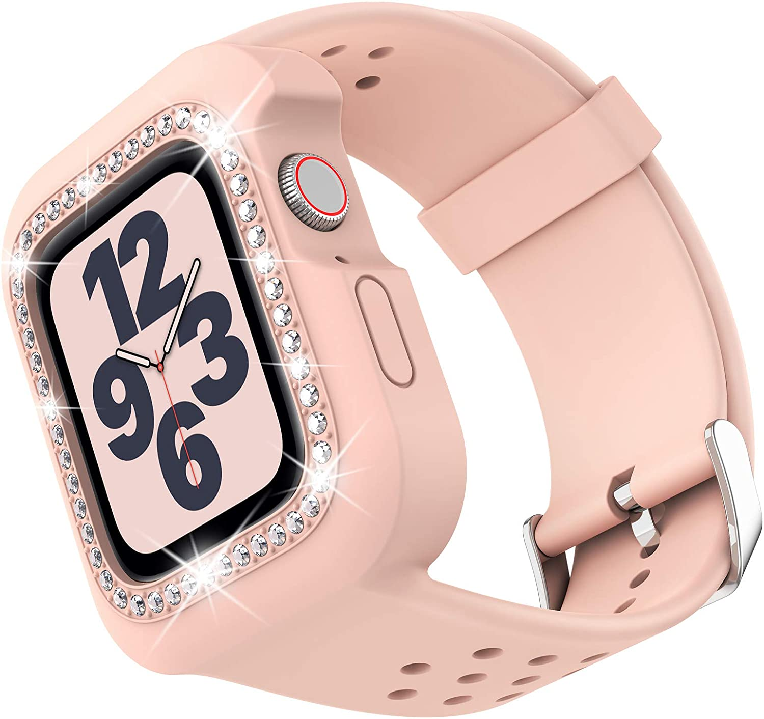 Goton Compatible Apple Watch Band with Bling Bumper for Apple Watch SE/Series 6/5 / 4 [No Screen Protector], One Piece Women Girl Shockproof Comfortable Soft Silicone iWatch Band (40mm,Pink)
