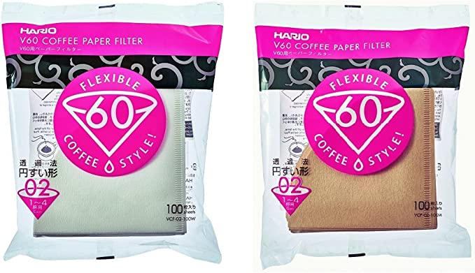 Hario Paper Filters for 02 Dripper WHITE & NATURAL set 100 Sheets each