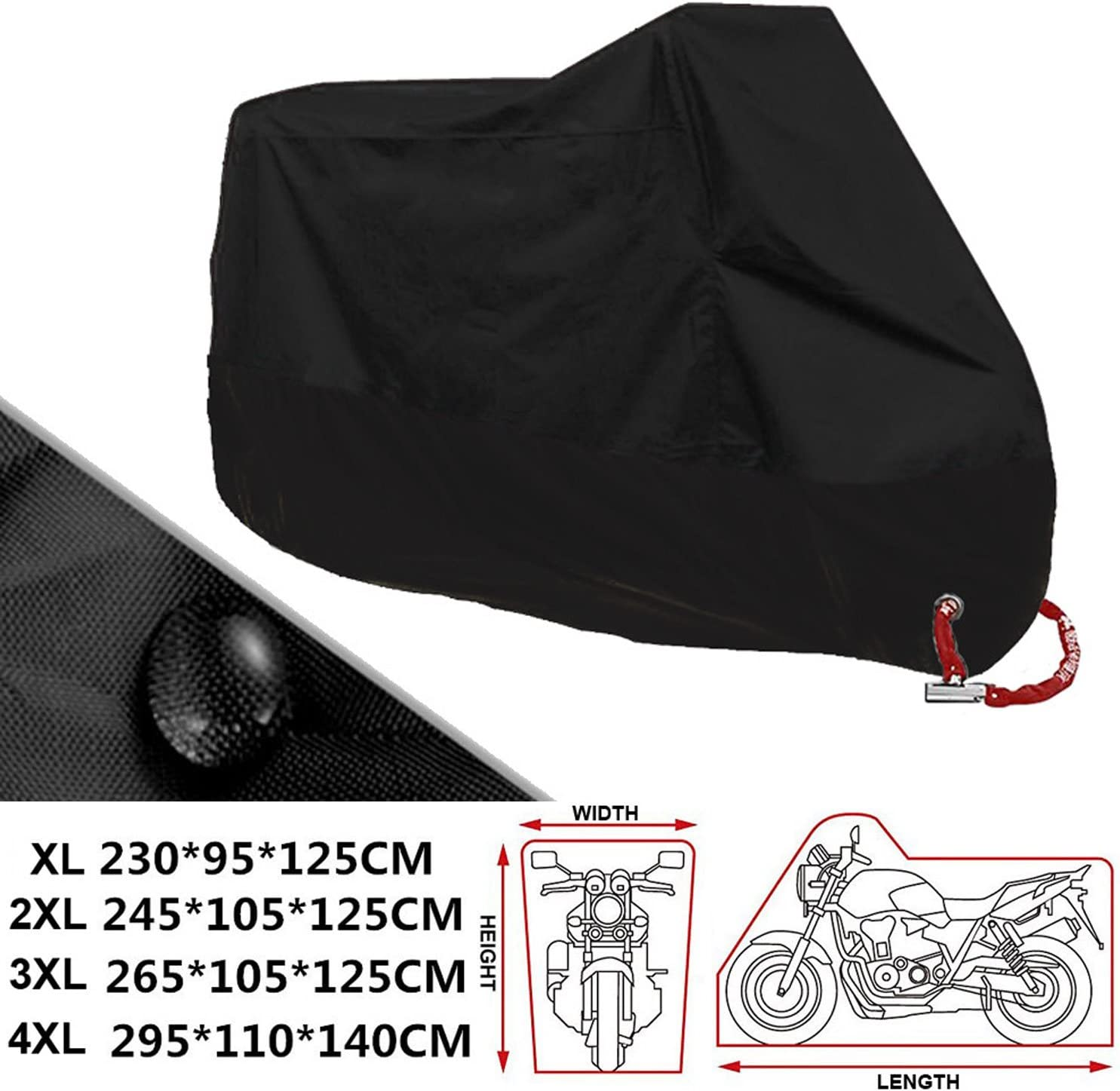 ANFTOP Motocicleta Funda para Moto 4XL Negro Color Agujeros de la Cerradura Cubierta UV Polvo Protectora Impermeable de Cubierta - XXXXL